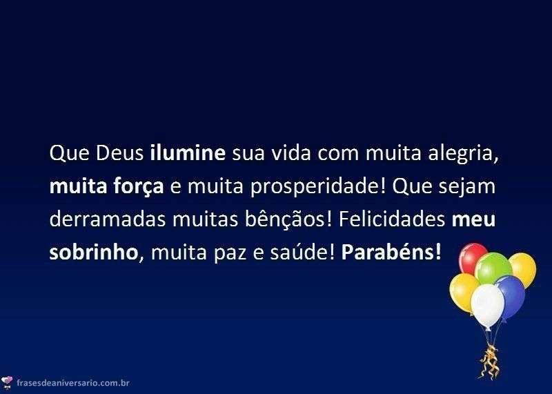 Parabéns sobrinho Deus te Ilumine