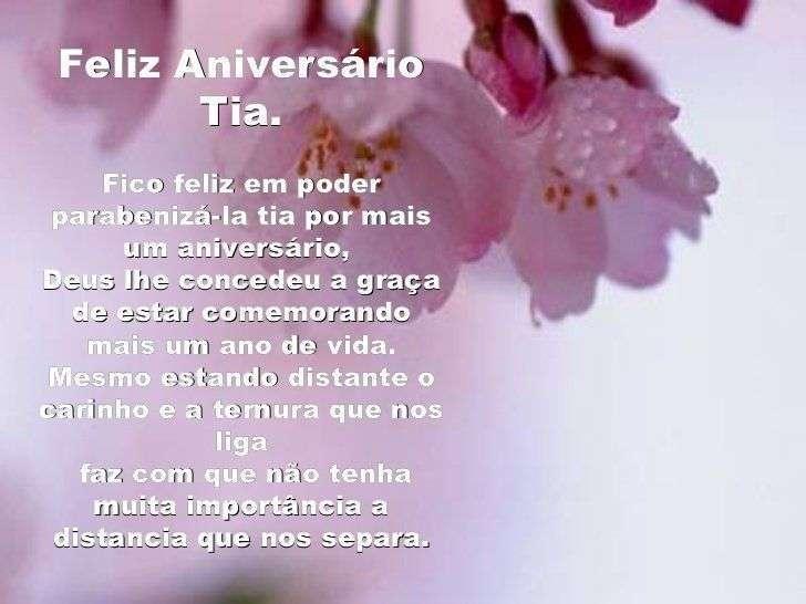 Mensagem de aniversário para tia - Feliz Aniversário Tia.