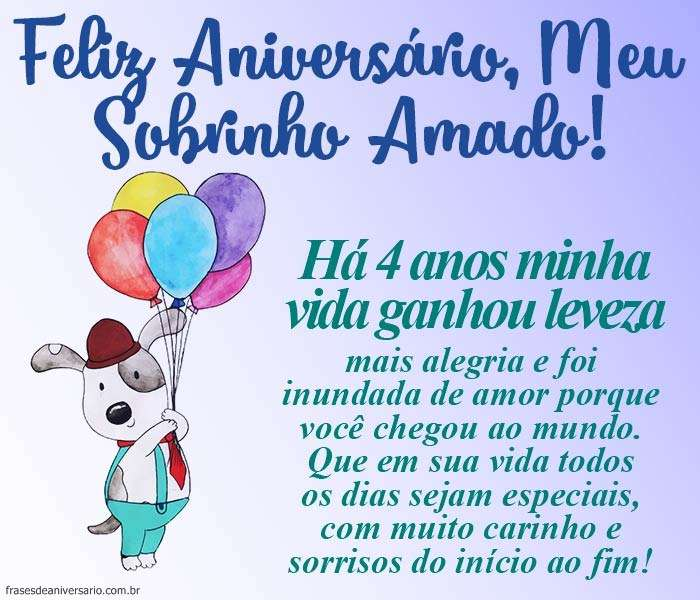 Feliz Aniversário Sobrinho 4 Anos Frases De Aniversário