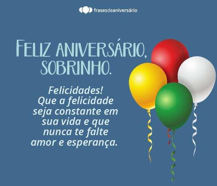 Feliz Aniversário Sobrinho! Felicidades